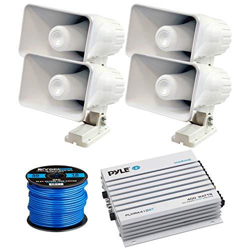 4 X Pyle 6 200 Watt IndoorOutdoor Waterproof Home PA Horn Speakers with Pyle Elite Series Marine Bluetooth 4-Channel 400 Watt Amplifier and Enrock Marine-Grade 50 Foot 16-Gauge Speaker Wire