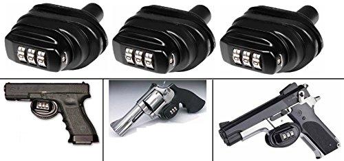 Ultimate Arms Gear Pack Of 3 Number Combination Secure Steel Zinc Bodied Universal Firearm Guns Handguns Pistols Revolvers Shotguns Rifles Protective Lock Safety Trigger Block Locks