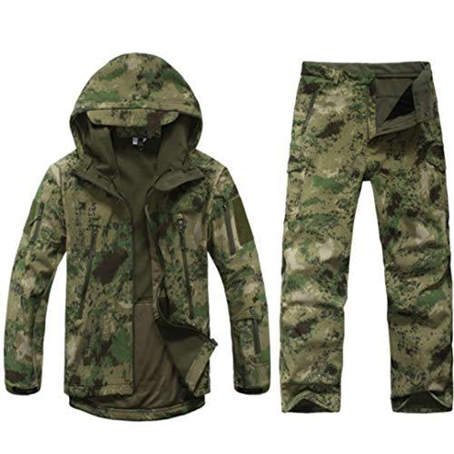 Sharkskin Outdoor Hunting Suit Camping Waterproof Jacket Soft Shell Fleece Jacket Pants Sniper Camouflage