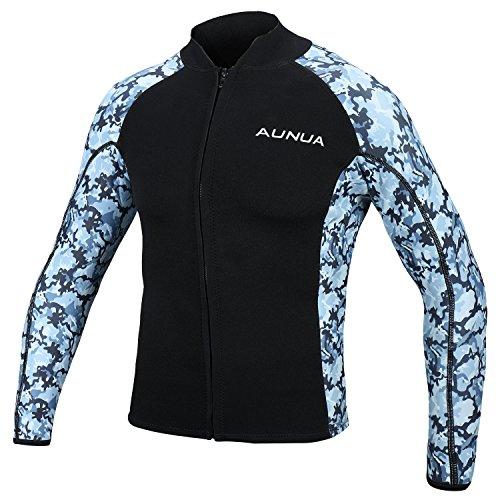 Aunua Mens 2mm Neoprene Wetsuit Camouflage Jacket Long Sleeve Surfing Tops8021 M