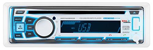 BOSS Audio MR762BRGB Single Din Bluetooth CD  MP3  WMA  USB  SD AMFM Weather-Proof Marine Stereo Detachable Front Panel Wireless Remote