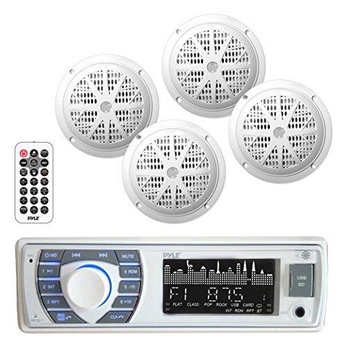 Bluetooth Marine Receiver Stereo Speaker Kit Hands-Free Calling Wireless Streaming MP3USBSD Readers AMFM Radio 4 65 Waterproof Speakers PLMRKT38W