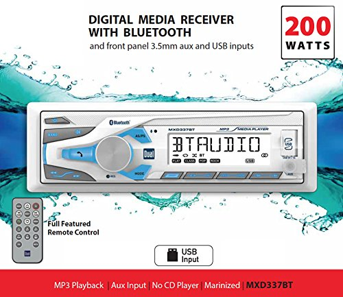 Dual Electronics MXD337BT Large Multi Line LCD Digital Media Marine Receiver Single DIN Marine Stereo with Built-In Bluetooth USB MP3WMA Player