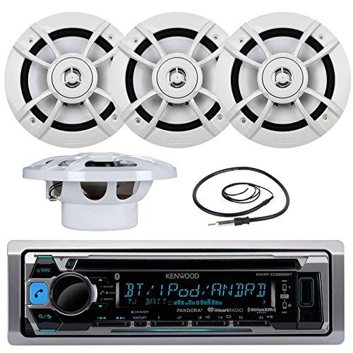 Great New Kenwood Marine Boat Yacht Outdoor Bluetooth Stereo CD MP3 Player USB iPod iPhone Pandora AMFM Reciver 4 X Kenwood 65 Inch Waterproof Speakers Enrock Antenna - Marine Audio Kit