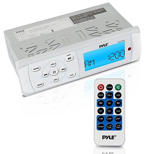 Pyle Bluetooth Marine Stereo Radio Receiver Water-ResistantWeatherproof MP3USB Reader AMFM - Weatherband Radio PLMR14BW