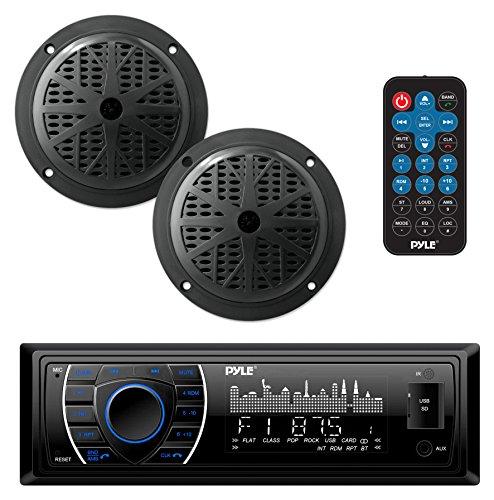 Pyle Bluetooth Marine Stereo Receiver Speaker Kit  AMFM Radio Headunit with Wireless Streaming  Hands-Free  2 Waterproof Speakers  MP3 USB SD AUX  Single DIN  4 x 75 Watt PLMRKT46BK