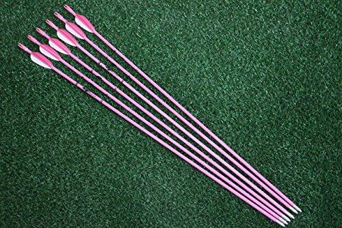 Fiberglass Archery Target Arrows 28 Practice Arrows Youth Arrows for Woman or Beginner Recurve Bow 6Pcs
