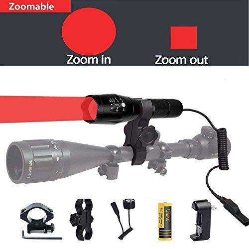 Ulako Red Light 250 Yards Spotlight Flood Light Zoomable Tactical Hunting Flashlight Torch for Hog Pig Coyote Varmint Predator Rifle