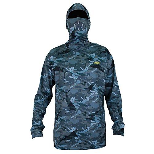 AFTCO Fish Ninja 2 Ultra Performance Long Sleeve Shirt wHood - Blue Camo - 2XL
