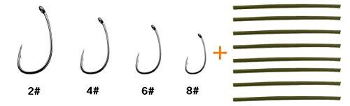 Carp Fishing Hair Rigs High Carbon Steel Carp Boilies Bait Hook with 8 pcs Rubbers Tubes Carp Fishing Accessories 4 - 20PCS
