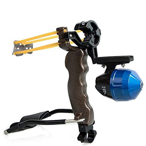 Huntingdoor Hunting Slingshot Slingbow Wrist Rocket Sling Shot Professional Slingshot Set High Velocity Fishing Reel Wrist Powerful Catapult Compatible with Fishing Arrows