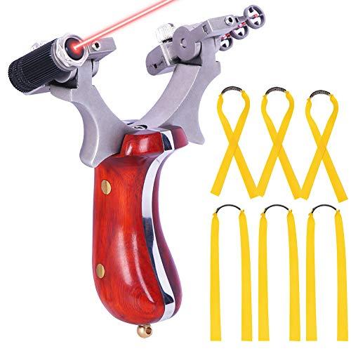 HANDBAIGE Professional Hunting Slingshots Set Powerful Catapult Outdoor Y Shot Sling Shot Wrist Rocket Slingshots for Adult 5pcs Slingshot Flat Rubber Bands