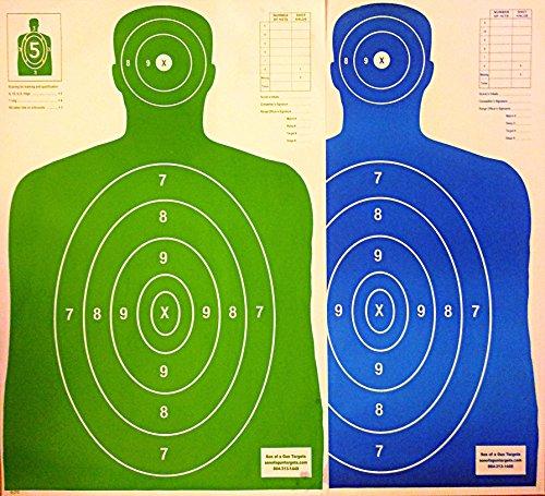 B27 Paper Shooting Targets Silhouette Gun Range Rifle PIstol 23x35 BlueGreen Qty100