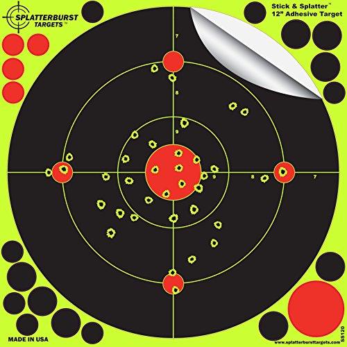 Splatterburst Targets -12 inch Adhesive Stick Splatter Reactive Shooting Targets - Gun - Rifle - Pistol - AirSoft - BB Gun - Pellet Gun - Air Rifle 25 pack