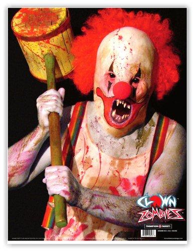 Clown Zombie - Paper Gun Range Shooting Targets 19x25 Inch 5 Pack