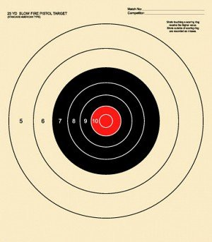 25 Yard Slow Fire Pistol Target Official NRA Target B-16 Red 50