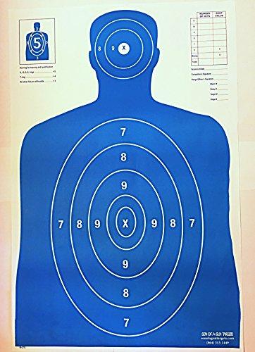 100 B27E Paper Gun Range Shooting Silhouette Targets 23x35 Blue