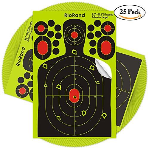 Reactive Shooting Silhouette Targets-95x145 inch Self Adhesive Paper Target Stickers for Gun RiflePistolBB GunAirSoftPellet GunAir Rifle25PCS