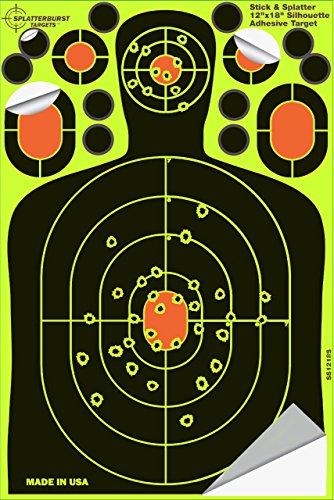 Splatterburst Targets - 12 x18 inch - Stick Splatter Adhesive Silhouette Shooting Target - Shots Burst Bright Fluorescent Yellow Upon Impact - Gun - Rifle - Pistol - AirSoft - Air Rifle 25 pack