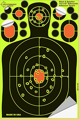 Splatterburst Targets - 12 x18 inch - Stick Splatter Adhesive Silhouette Shooting Target - Shots Burst Bright Fluorescent Yellow Upon Impact - Gun - Rifle - Pistol - AirSoft - Air Rifle 25 pack