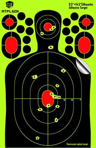 ATFLBOX Target -25Packs-95x145 inch-Splatter and Adhesive Silhouette Reactive Shooting Target-Bright Fluorescent Yellow Upon Impact- Gun - Rifle - Pistol - AirSoft - BB Gun - Air Rifle