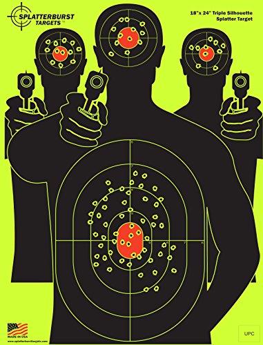 Splatterburst Targets - 18 x 24 inch - Triple Silhouette Reactive Shooting Target - Shots Burst Bright Fluorescent Yellow Upon Impact - Gun - Rifle - Pistol - AirSoft - BB Gun - Air Rifle 25 pack