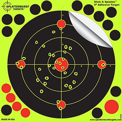 Splatterburst Targets - 8 inch Adhesive Stick Splatter Reactive Shooting Targets - Gun - Rifle - Pistol - AirSoft - BB Gun - Pellet Gun - Air Rifle 50 pack