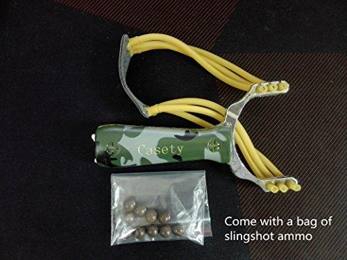 Casety Powerful Aluminium Alloy Camouflage Bow Catapult Outdoor Hunting Slingshot