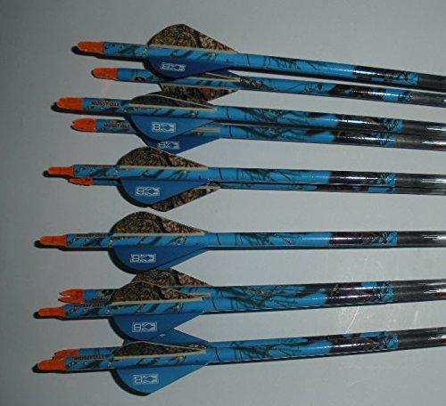 Gold Tip Hunter 400 Carbon Arrows wBlazer Vanes Blaze Wraps 12 Dz 6Nockturnal Nocks