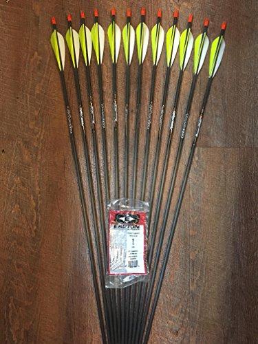 Easton Powerflight 340 Arrows w Parabolic Feathers Custom Made Set of 12