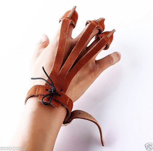 Brown 3 Fingers Finger Protector Glove Traditional Cow Leather Style Archery Finger Guards Shooting Archery Gear for Adult Youth Recurve Bow Arrow Hunting Practice Gift 3 Fingers type