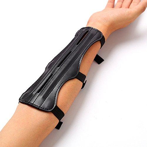 Born Beauty Fashion Black Leather Archery Arm Guard 3 Straps Adjustable Arm Protector Gear