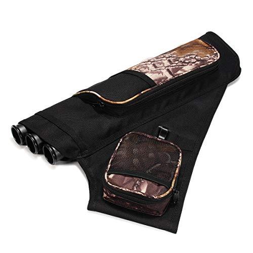 3 Tube Hip Quiver Archery Holder Bag with Adjustable Waist Belt Black