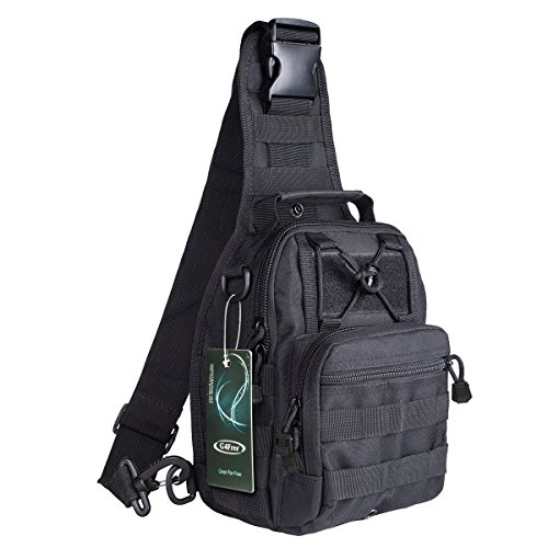 G4Free Outdoor Tactical BackpackMilitary Sport Pack Shoulder Backpack for Camping Hiking TrekkingRover Sling Pack Chest Pack(Black)