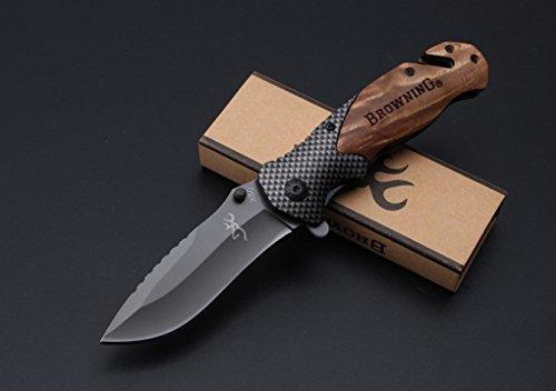 Browning knives X50 Tactical Folding Knives Wood Carbon fiber Handle Blade 440C 57HRC Camping Survival knife Pocket folding Knife