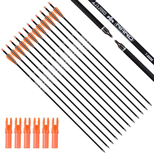 Carbon Arrow Practice Hunting Arrows with Removable Tips for Archery Compound Recurve Traditional Bow Pack of 12