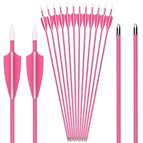 SHENG-RUI Archery Youth 24 26 inch Safety Glass Vaned Arrows Fiberglass Arrow Pink - Will Not Splinter