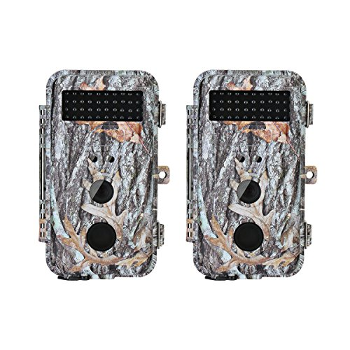 BlazeVideo 2-Pack HD 16MP Night Vision Hunting Video Trail Wildlife Cameras Hunters Game Camera Cam Waterproof Motion Sensor Activated with 40pcs IR LED PIR Up to 65ft Video Record 236 LCD Screen