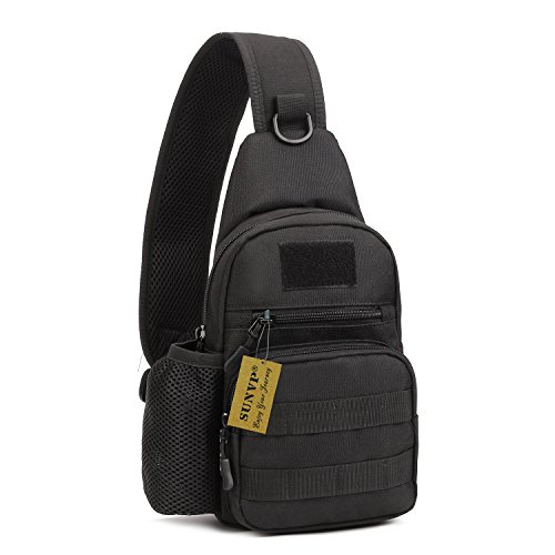 Tactical Military Sling Chest Pack Bag Black