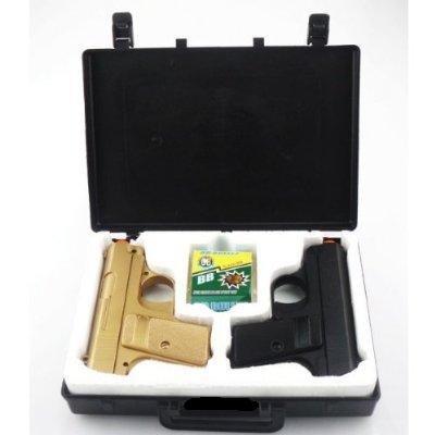 BBTac Airsoft Pistol Guns Twin Pack Spring Pocket Handgun with Storage Case Gold Black
