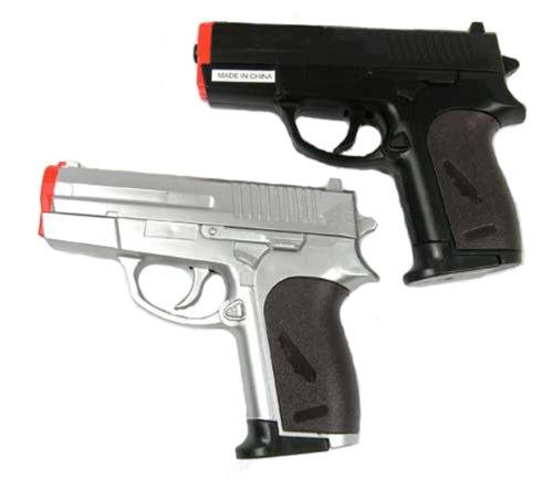BBTac Airsoft Pistol Guns Two Pack Pocket Spring Handgun with Storage Case Silver Black