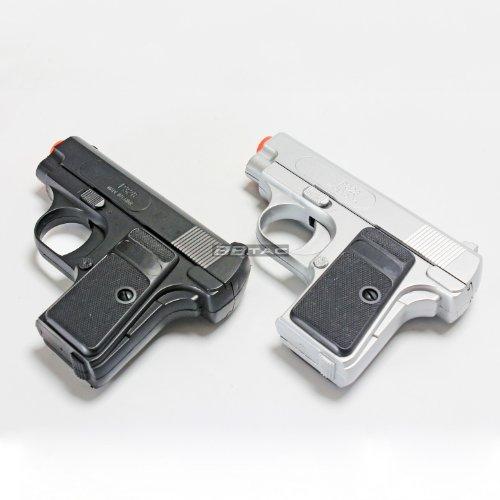 BBTac Airsoft Pistol Twin Pack - 110 FPS Spring Pocket Airsoft Gun with Storage Case BlackSilver