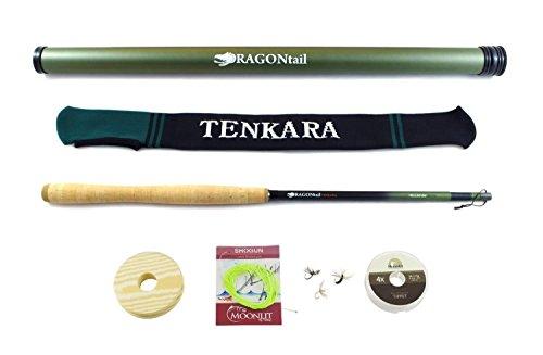 DRAGONtail Tenkara HELLbender Zoom 13  113 Tenkara Rod PLUS Complete Starter Package – Flies Leader Tippet Line Holder Storage Tube and Rod Sock