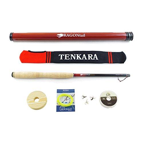 DRAGONtail Tenkara Shadowfire 12 Tenkara Rod PLUS Complete Starter Package – Flies Leader Tippet Line Holder Storage Tube and Rod Sock