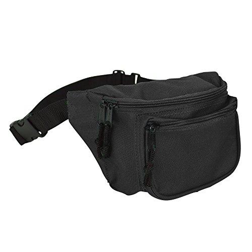 DALIX 3 Pocket Fanny Pack in Black