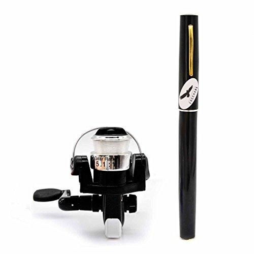 PiscatorZone Mini Pocket Pen Fishing Rod Set Carbon Fiber Telescopic Fishing Pole Pocket Travel Fishing Kit Sea Fishing Rod 2000 Aluminum Spinning Fishing Reel  Fishing Line Black