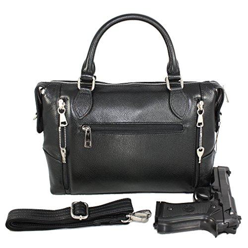 Concealed Carry Handbag - CCW Locking Gun Bag Purse - Genuine Leather - Black