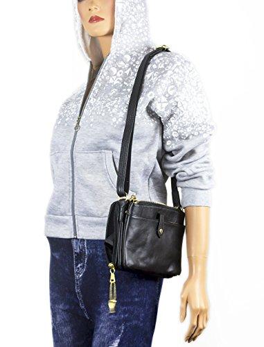 Vivoi Compact Cowhide Leather Locking CCW Gun Concealed Carry Purse Cross-Body Shoulder Bag Concealment size 6x 9  Black