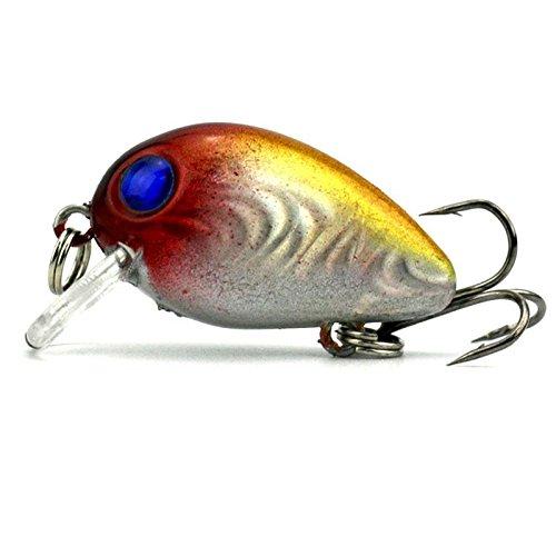 Forfar Fishing Lure Topwater Wobbler Fishing Lure Small Fat Mini Artificial Fish Crank Bait Crankbait Treble Hook 3cm15g Tackle