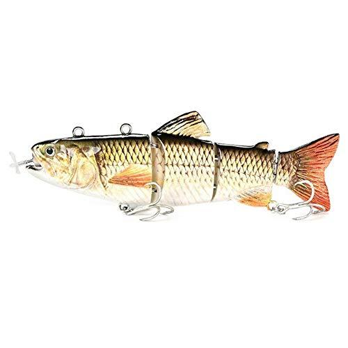 Alexsix Electric Fishing Lure Wobblers 4-Segement Swimbait USB Rechargeable Artificial Multi Jointed Segment 3D Lifelike Hard Bait Treble Hooks Sinking Lure for Bass Trout Perch